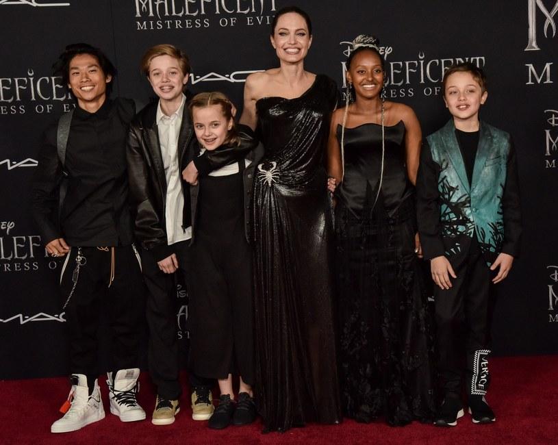 Angelina Jolie z dziećmi /Rex Features /East News