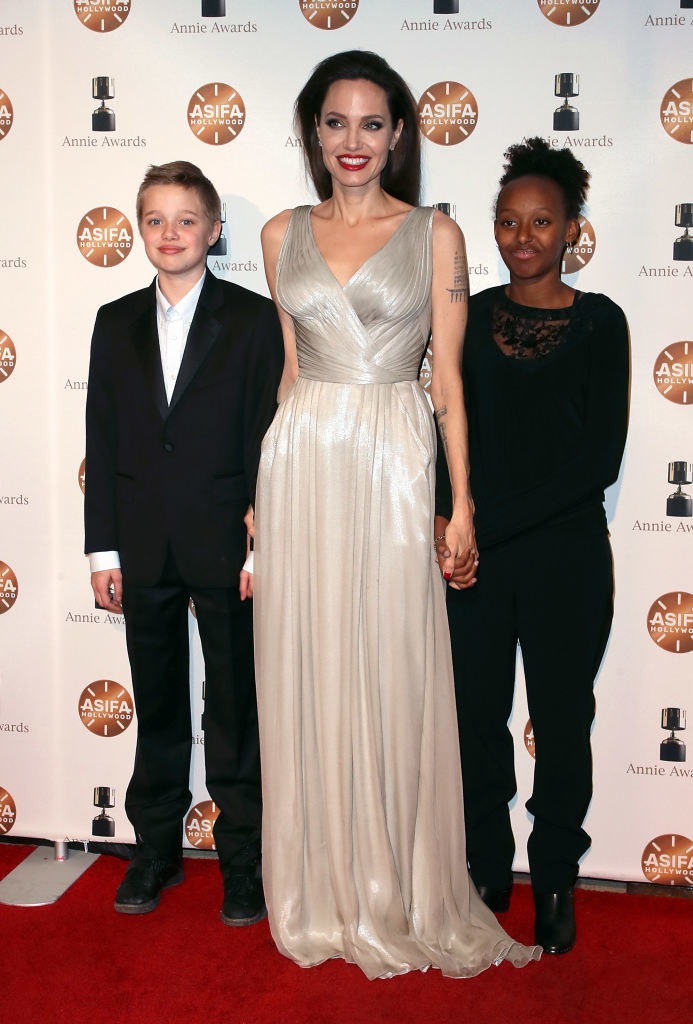 Angelina Jolie z Shiloh  i Zaharą. /David Livingston/Getty Images