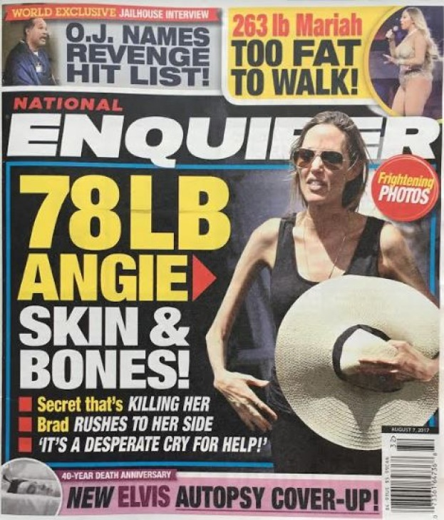 "Angelina na jednej z okładek ""National Enquirer"" /"