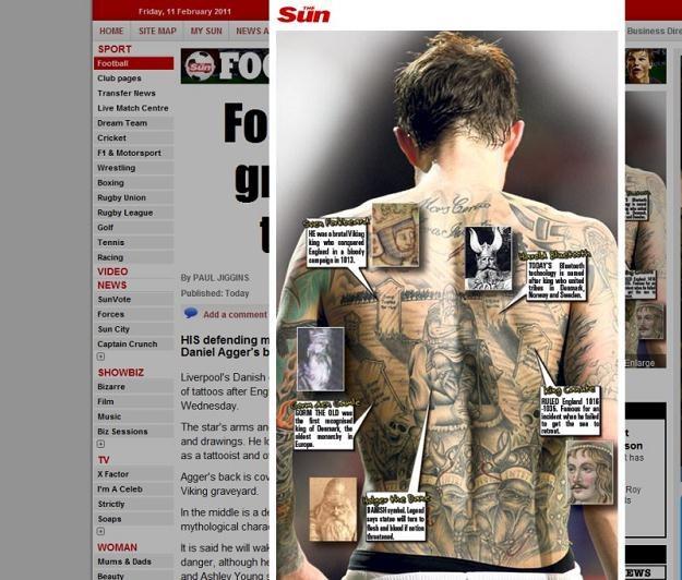 """Angielski """"The Sun"""" dokładnie analizuje tatuaże Daniela Aggera /The Sun"""