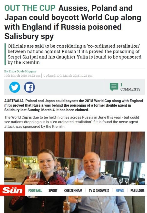 Angielskie media wciągają Polskę w bojkot MŚ w Rosji. /