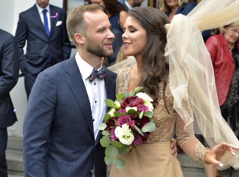 Ania Korcz i Piotr w dniu ślubu /Kurnikowski /AKPA