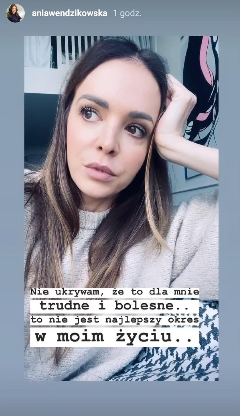 Ania Wendzikowska powiedziała o rozstaniu na swoim InstaStories /Instagram