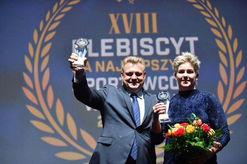 Anita Włodarczyk i trener Krzysztof Kaliszewski. /Bartłomej Zborowski /PAP