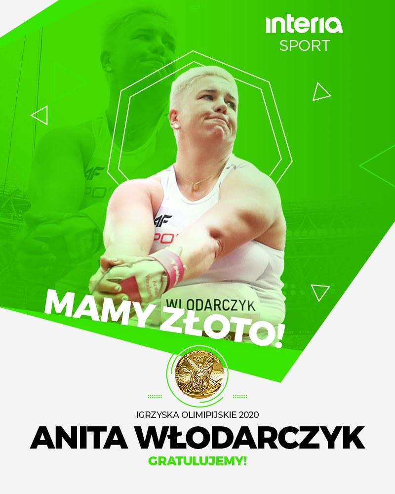 Anita Włodarczyk ze złotym medalem IO Tokio 2020 /INTERIA.PL