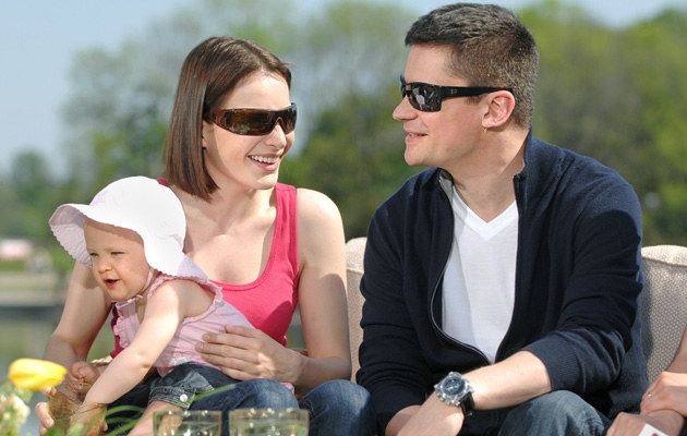 Anna Dereszowska i Piotr Grabowski z córką Leną, fot.Jan Bielecki  /East News
