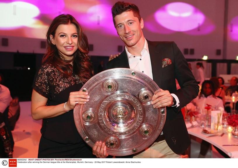 Anna i Robert Lewandowscy świętowali zdobycie tytułu Mistrza Niemiec przez Bayern Monachium /Pool/actio/REX/Shutterstock /East News