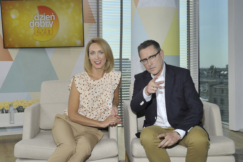 """Anna Kalczyńska i Andrzej Sołtysik na planie programu """"Dzień Dobry TVN"""" /AKPA"""