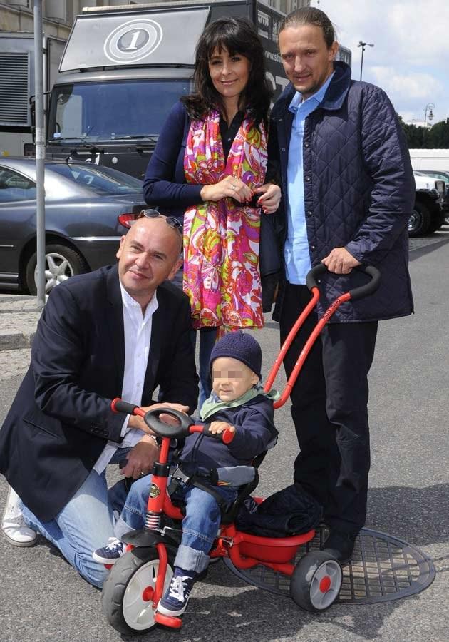 Anna Korcz z partnerem Pawłem, synem Jasiem i Tomaszem Osuchem, fot.Jarosław Antoniak  /MWMedia