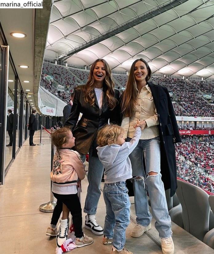 Anna Lewandowska i Marina Łuczenko-Szczęsna na meczu Polska-Albania /Instagram