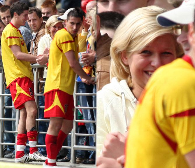 Anna Lewandowska na meczu, 2007 r. /Piotr Kucza /Newspix