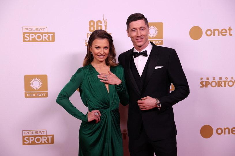 Anna Lewandowska oraz Robert Lewandowski na Gali Mistrzów Sportu /Newspix