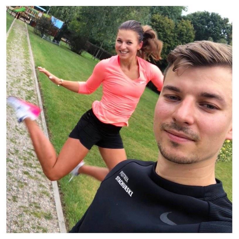 Anna Lewandowska z bratem /Reporter