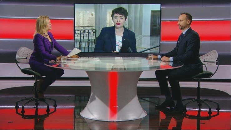 "Anna Maria Żukowska i Janusz Kowalski w ""Debacie Dnia"" w Polsat News /Polsat News"