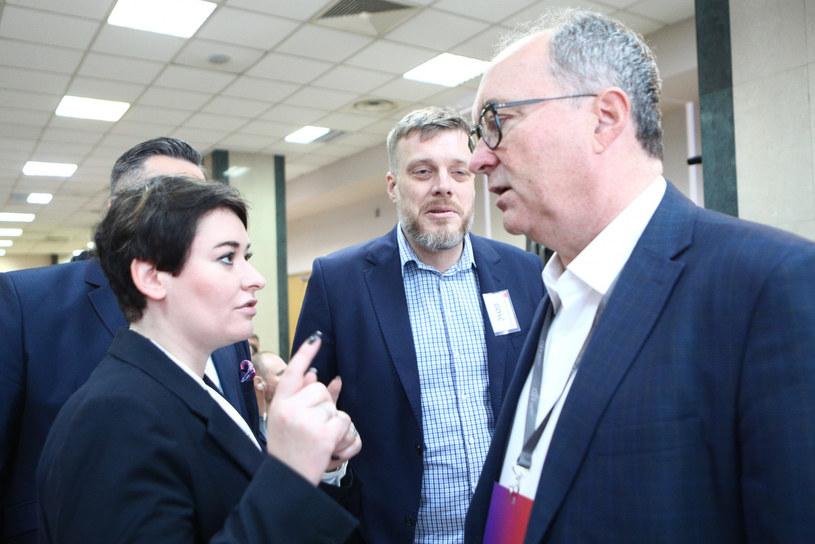 Anna Maria Żukowska i Włodzimierz Czarzasty (a na drugim planie Adrian Zandberg) /Tomasz Jastrzębowski /Reporter