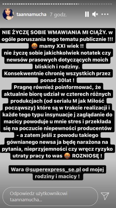 Anna Mucha wydała oświadczenie  /https://www.instagram.com/taannamucha/ /Instagram