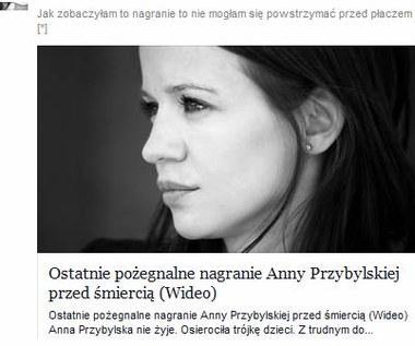 Anna Przybylska - facebookowi oszuści wykorzystują jej śmierć.