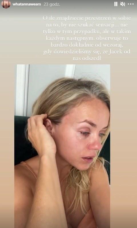 Anna Skura nie mogła powstrzymać łez, żegnając Jacka Kramka /Instagram /Instagram