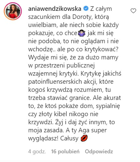 Anna Wendzikowska skomentowała post Agnieszki Hyży /Instagram /Instagram