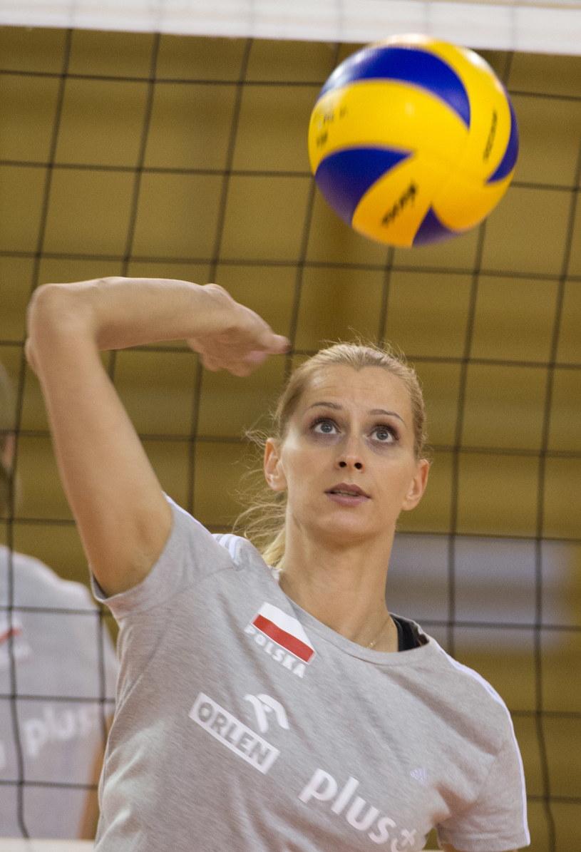 Anna Werblińska podczas treningu kadry narodowej siatkarek w COS Spała /Grzegorz Michałowski /PAP