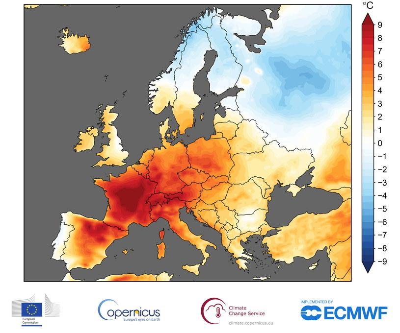 Anomalie pogodowe w czerwcu 2019 .Fot. ECMWF, Copernicus Climate Change Service /materiały prasowe