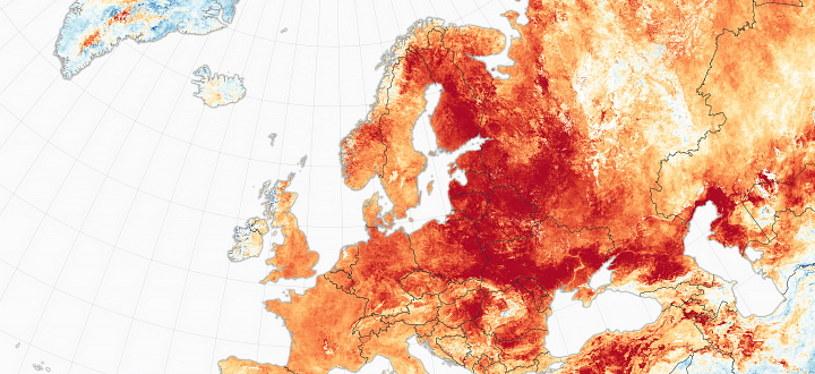 Anomalie pogodowe w Europie - mapa przygotowana przez NASA /materiały prasowe