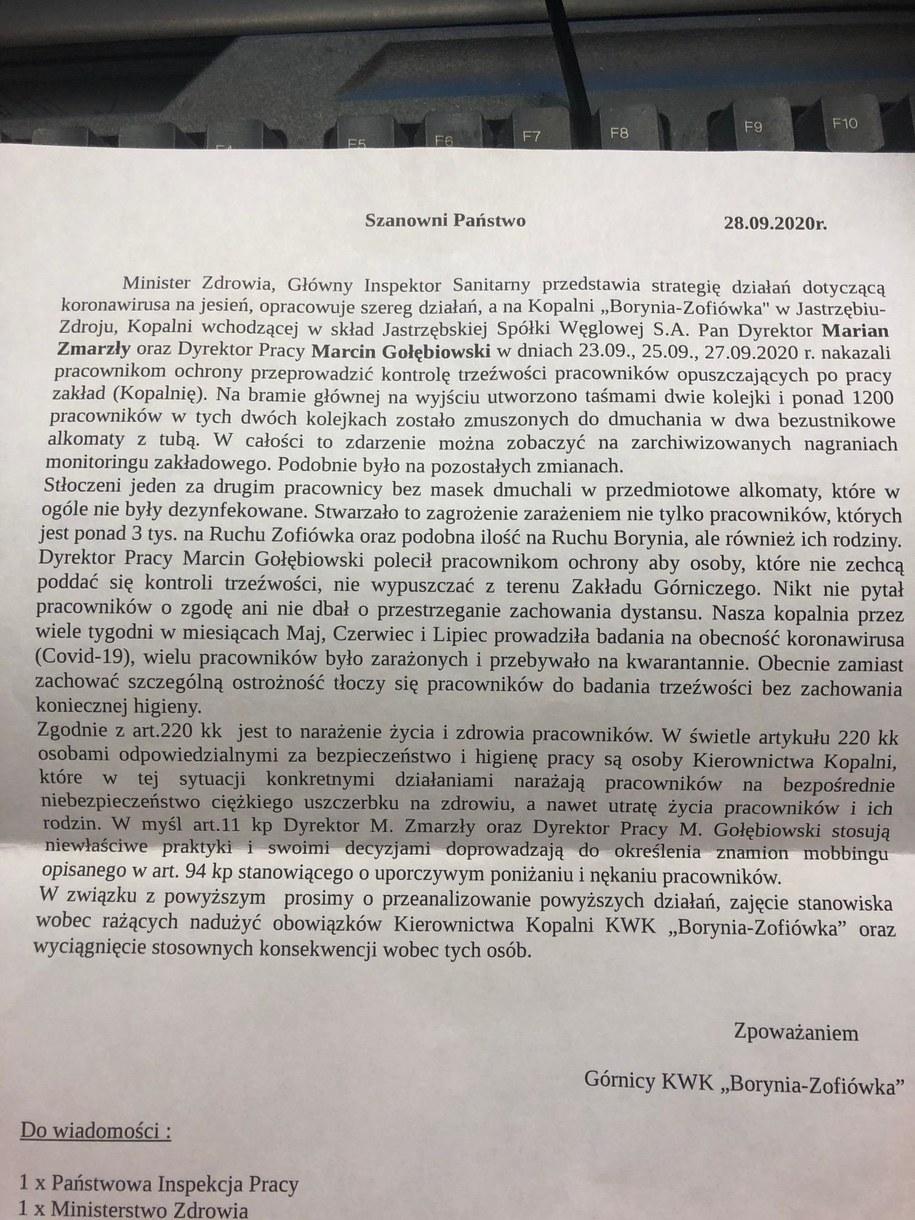 Anonimowy list, który dotarł do redakcji RMF FM /