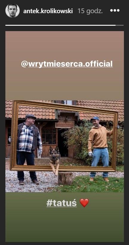 """Antek Królikowski i Paweł Królikowski na planie serialu """"W rytmie serca"""" /Instagram/antek.krolikowski /Instagram"""