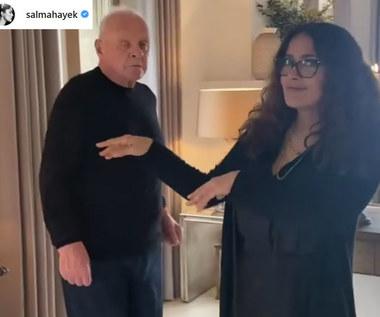 Anthony Hopkins świętuje zdobycie Oscara z Salmą Hayek