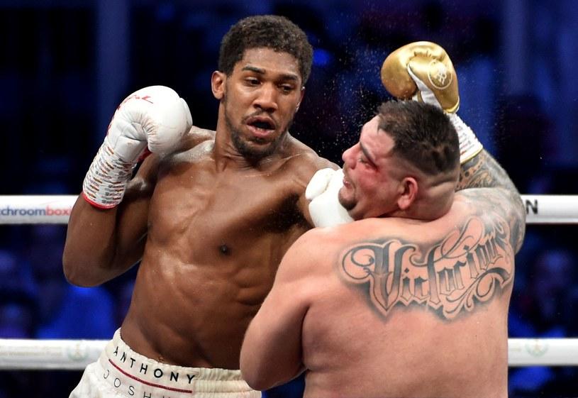 Anthony Joshua (z lewej) w pojedynku z Andym Ruizem jr. /AFP