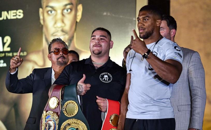 Anthony Joshua (z prawej) i Andy Ruiz /AFP