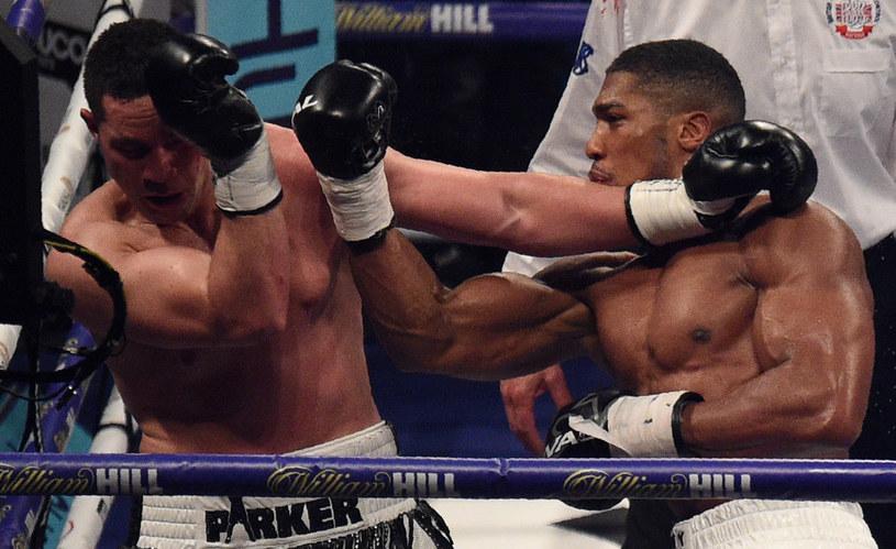 Anthony Joshua (z prawej) niedawno pokonał na punkty Josepha Parkera /AFP