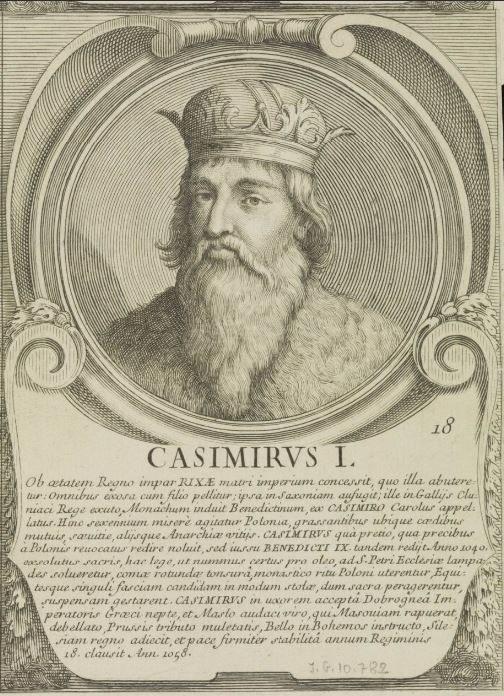 """Antonio Barbey """"Kazimierz I"""" [Odnowiciel]; miedzioryt z serii """"Ducum, Regumque Polonorum"""" /Biblioteka Narodowa"""