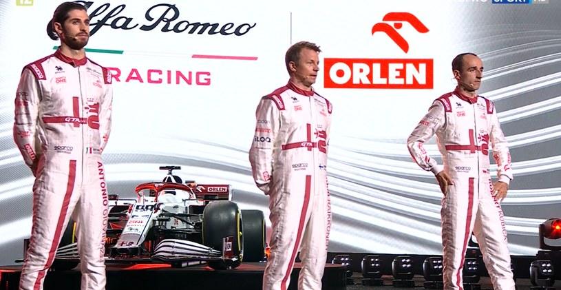 Antonio Giovinazzi, Kimi Raikkonen i Robert Kubica podczas prezentacji bolidu w Warszawie /Polsat Sport
