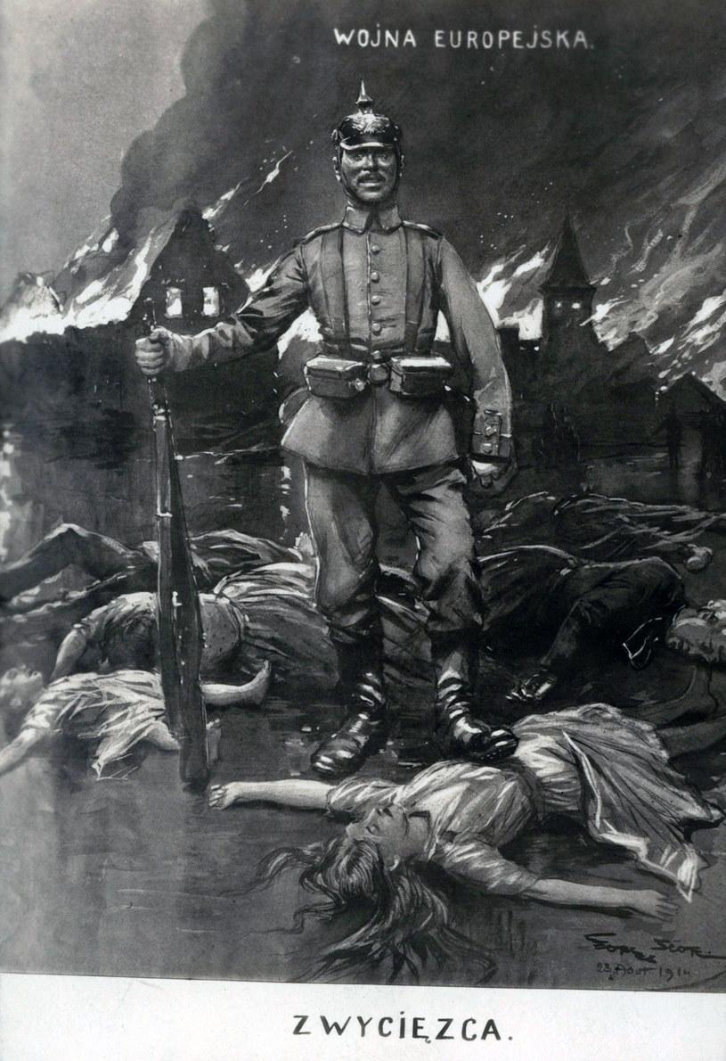 Antyniemiecki plakat z okresu I wojny światowej /Biblioteka Narodowa