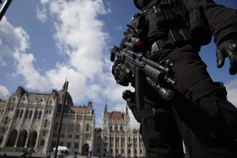 Antyterroryści w pobliżu budynku parlamentu w Budapeszcie, Węgry /PAP/EPA