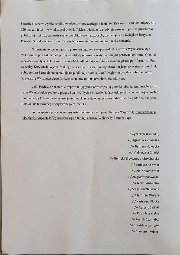 Apel o odwołanie Krzysztofa Wyszkowskiego z funkcji doradcy Wojewody Pomorskiego /