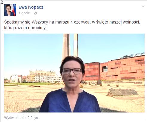 Apel o udział w marszu Ewa Kopacz zamieściła na Facebooku /facebook.com