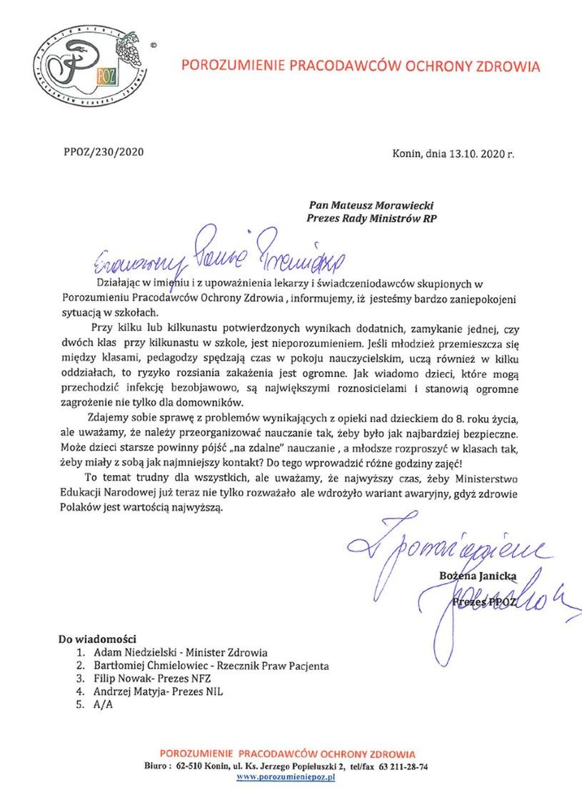 Apel PPOZ do premiera Mateusza Morawieckiego /Polsat News