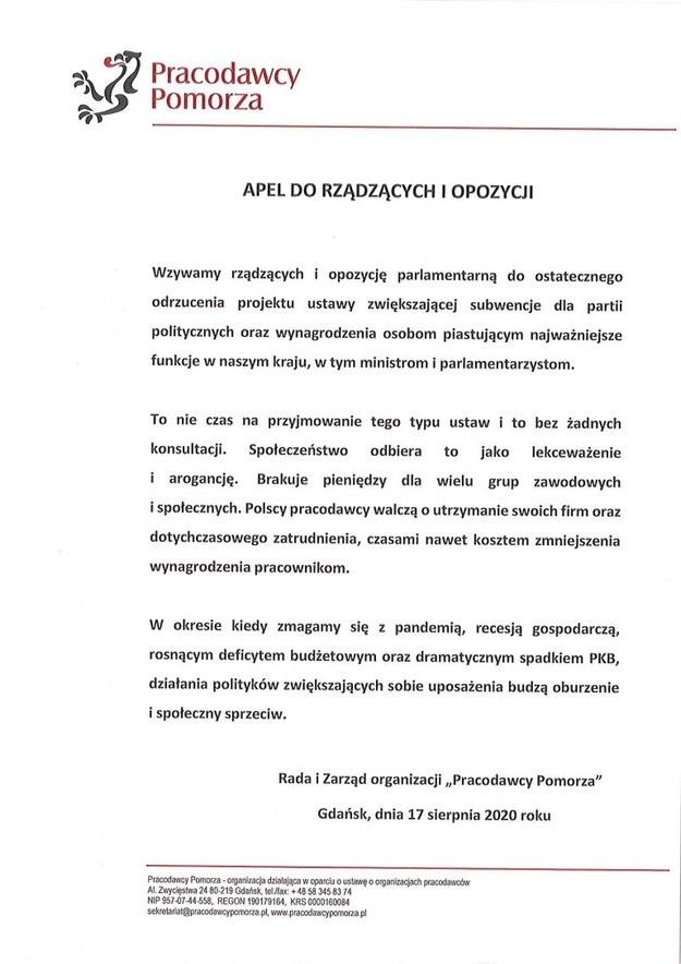 Apel Pracodawców Pomorza /materiały prasowe /