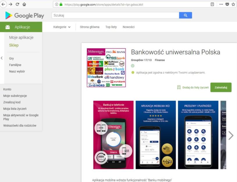 Aplikacja Bankowość uniwersalna Polska - print screen z Google Play /materiały prasowe