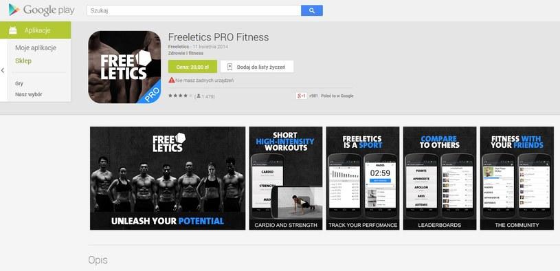Aplikacja freeletics na Androida kosztuje 20 złotych /materiały prasowe
