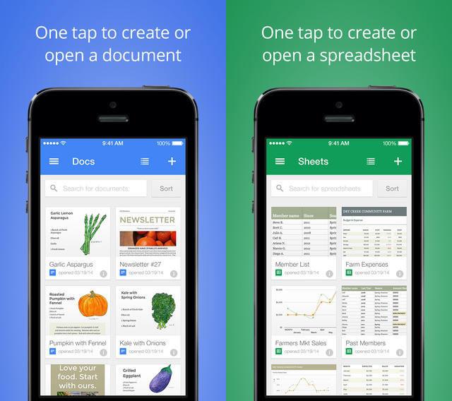 Aplikacje Docs i Sheets od Google na iOS /materiały prasowe