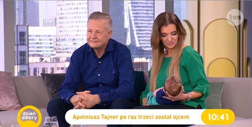 """Apoloniusz Tajner i Izabela Podolec-Tajner z synkiem w """"Dzień Dobry TVN"""" /Dzień Dobry TVN /TVN"""
