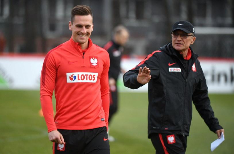 Arkadiusz Milik i Adam Nawałka /Fot. Bartłomiej Zborowski /PAP