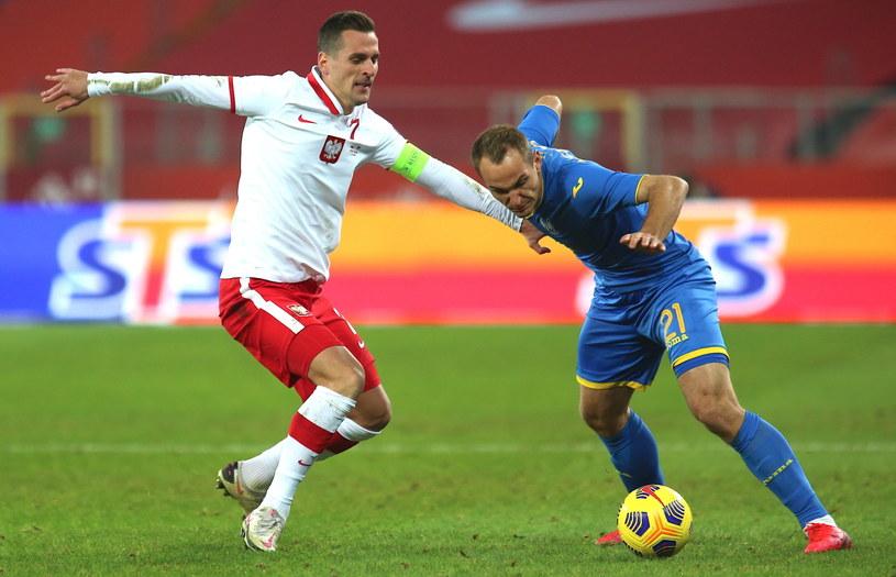 Arkadiusz Milik (L) i Jewhen Makarenko z Ukrainy /Andrzej  Grygiel /PAP