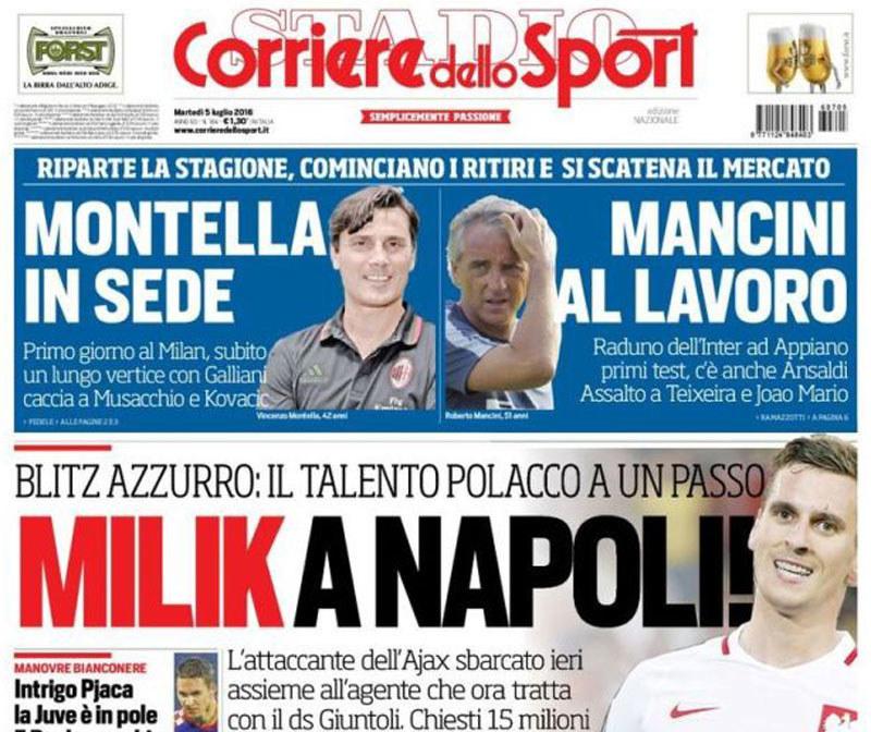 "Arkadiusz Milik na okładce ""Corriere dello Sport"" /"