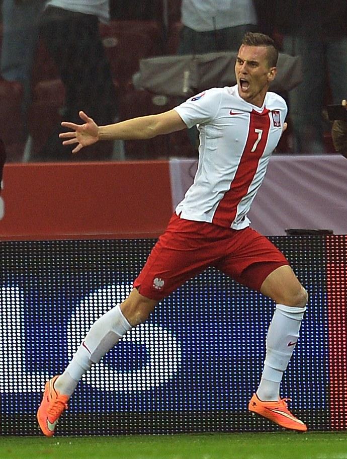 Arkadiusz Milik, strzelec pierwszego gola w meczu z Niemcami /AFP