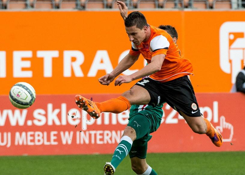 Arkadiusz Piech strzelił dwa gole w meczu ze Śląskiem /Fot. Maciej Kulczyński /PAP
