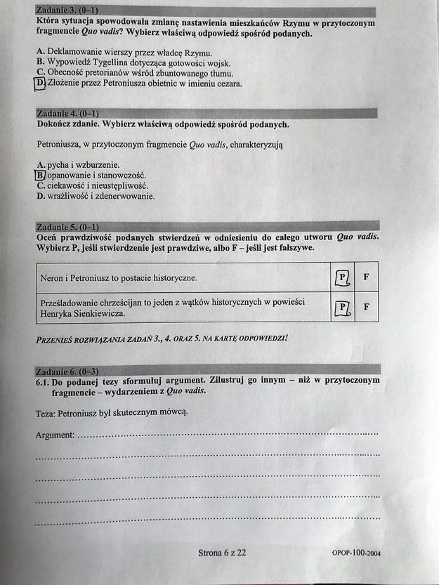 Arkusz CKE. Egzamin ósmoklasisty 2020, język polski, odpowiedzi /RMF24